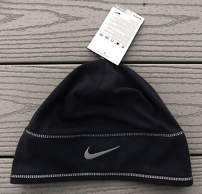 "NWT NIKE Dri-Fit Adult Reflective ""Dry Knit Running"" Beanie Hat-OSFM @$25 BLACK"