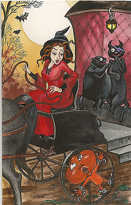 Original Halloween Postcard Painting Ryta Witch Black Cat Antique Style Witch Hp