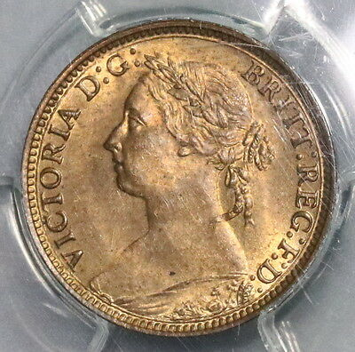 1881-H PCGS MS 64 RB Farthing Victoria GREAT BRITAIN Coin POP 2/1 (16091113CZ)
