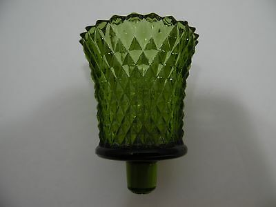Home Interiors Candle Cup Votive Tealight Homco Green Glass Diamond
