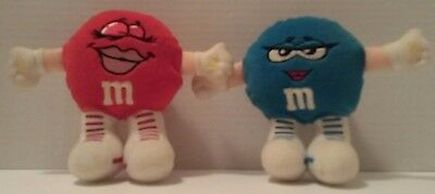 M&M's PLUSH Lot: RED + BLUE Velcro Hands CANDY Melts In Your Mouth CHOCOLATE