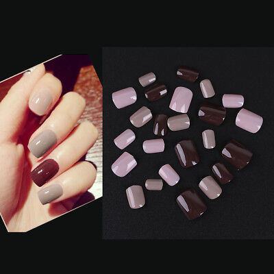 24Pcs Full Nail Tip Short Smooth False Nails Pure Color Finger Art Tool Beauty