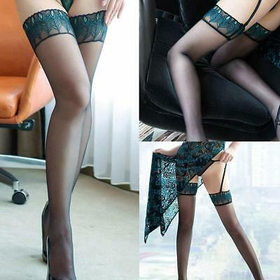 Womens Lace Top Stay Up Thigh-Highs Stockings Nylons Hosiery Pantyhose #