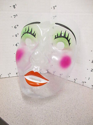 halloween mask 1970s MIME puppet clear faced woman female