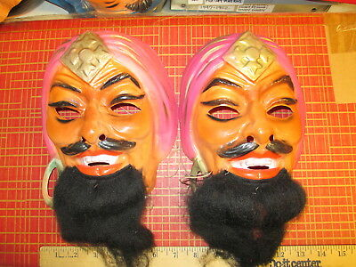 halloween mask GENIE Sheik Arab pirate Shazzan BEARDED (1 item unused) 1970s