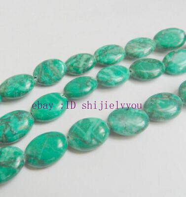 Charming 12x16mm Green Turquoise Oval Gemstone Loose Beads 15''