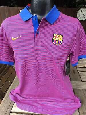 Barcelona Nike Home Polo Shirt T-Shirt Size Large Cotton Spain Barca Brand New