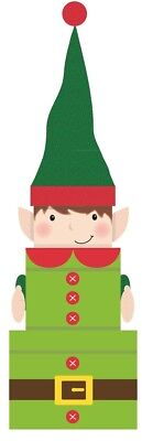 Set Of 3 Nested Stackable Christmas Eve Character Gift Boxes Square - Xmas Elf
