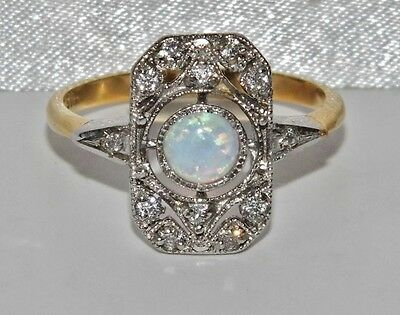 Art Deco 9ct Yellow Gold on Silver Opal Cabochon Cluster Ring - size Q