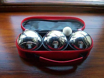 Boules game 3 Stainless stee boules (heavy),, measuring string jack in bag - vgc