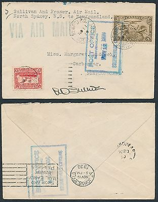 1930 AAMC #3065a, North Sydney to St John's NFLD Flight Cover, Pilot Signed