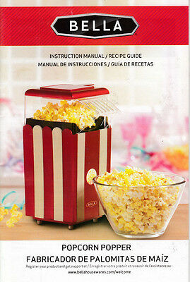 Bella Popcorn Popper Instruction Manual Recipe Guide