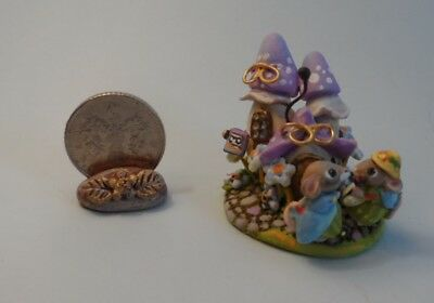 OOAK toadstool store and mice miniature Cottage Kitty