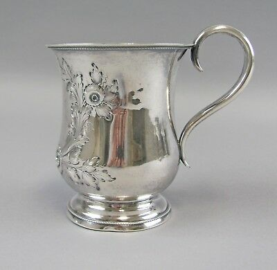 Antique American Coin Silver Repousse Floral Mug No Makers Mark