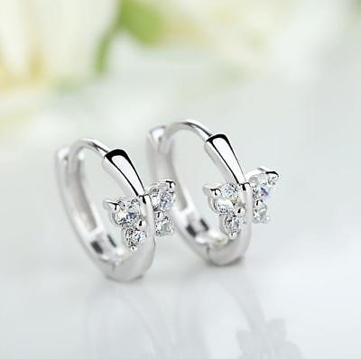 Shiny 925 Sterling Silver PLT Cubic Zirconia CZ Butterfly Huggie Hoop Earrings