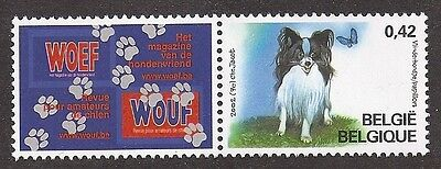 Art Full Body Study Postage Stamp PAPILLON Dog Butterfly Belgium 2002  2 x MNH
