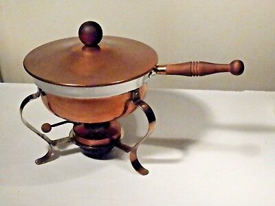 Copper Chafing Dish / Fondue Set With Lid And Sterno Compartment
