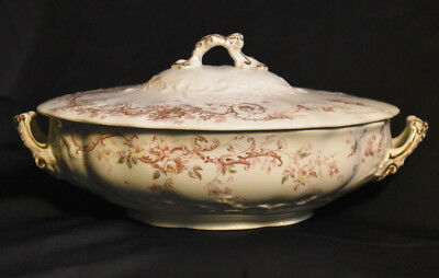 Sampson Hancock Ivanhoe Transferware Covered Vegetable Dish Antique Brown Green