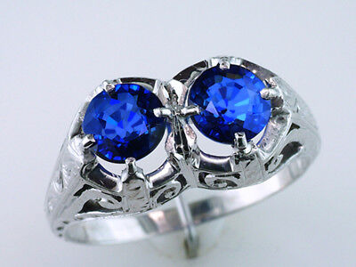 Rare 20K Gold Art Deco Vintage Antique 2.00ct Double Sapphire Engagement Ring