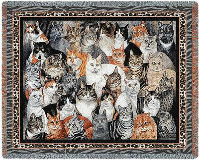 Throw Tapestry Afghan - Purrfect Cats 1213