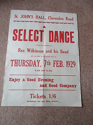 1929  Rex Wilkinson Band Select Dance Superb Poster