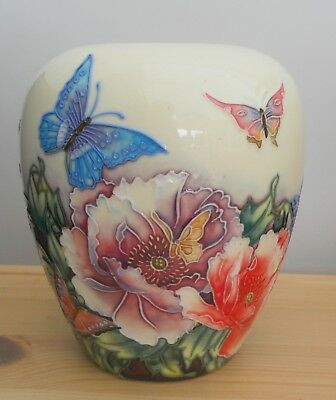 "Old Tupton Ware Vase ~ New Unused In Box ~ 6"" ~ With Flowers & Butterflies"