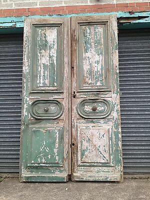 A Pair of French Chateau Pine Double Doors Moulded Panels for Renovation Project
