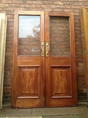 A Pair of Huge Victorian Glazed Mahogany Double / French Doors