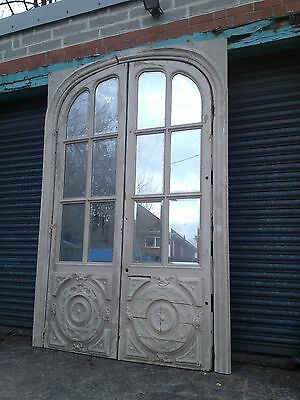 A Pair of French Painted Doors inset 6 Bevelled Mirrors for Renovation