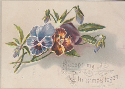 Accept My Christmas Token Purple Flowers Embossed Victorian Card c 1880s