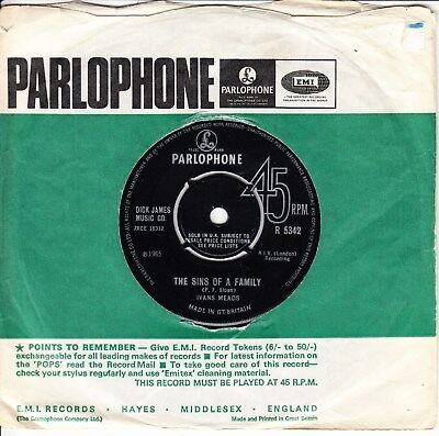Ivans Meads *the Sins Of A Family/ A Little Sympathy* 1965  Mod Psych Beat
