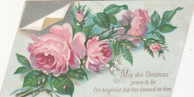 May This Christmas Prove to Be The Brightest Pink Roses Victorian Card c 1880s