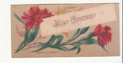 Merry Christmas Red Flowers Mini Victorian Card c 1880s