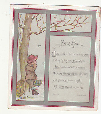 New Year H M Burnside Verse Boy at Tree in Snow Victorian Card c 1880s