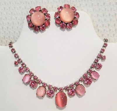 Vintage Pink rhinestone moonglow glass cab necklace earring set unsigned