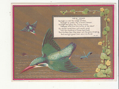 New Year Verse by R.I.C. Green Bird over water Victorian Card c 1880s