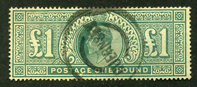 1902 £1 DLR Green  FINE USED  SG 266 Cat £825