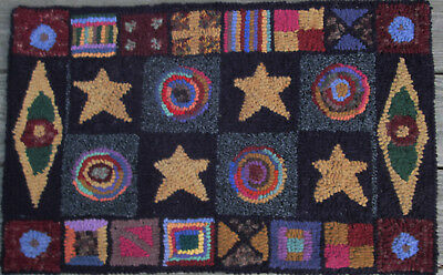 STARS AND PENNIES SAMPLER Large Primitive Rug Hooking KIT with cut wool strips