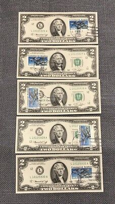 Lot of (5) Consecutive Two $2 Dollars Bill Notes with Commercial Aviation Stamps