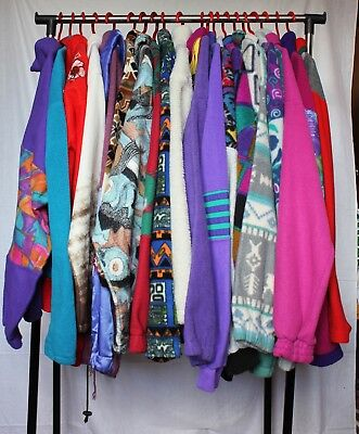 18 x Fleece Abstract Neon Pattern Jacket Jumper Vintage Wholesale Joblot PICS