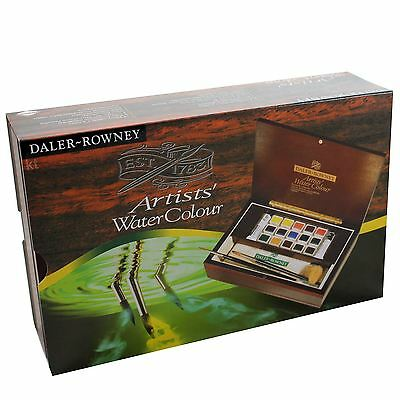 Daler Rowney Small Artists watercolour paints Wooden Box Half Pan brushes