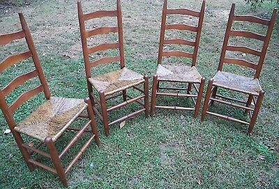 VINTAGE Ladder Back Chairs Set of 4 ~  Rush Seats ~
