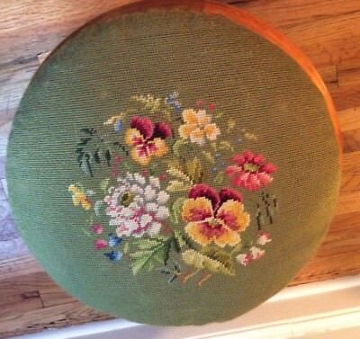 Vintage AMANA round wooden footstool needlepoint cover Pansies