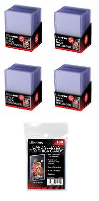 (100) Ultra Pro Thick 100pt Toploader Jersey Card Holders Extra + 100 Sleeves