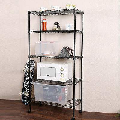 5 Tier Shelf Adjustable Wire Metal Shelving Rack w/Rolling Home Storage Cart