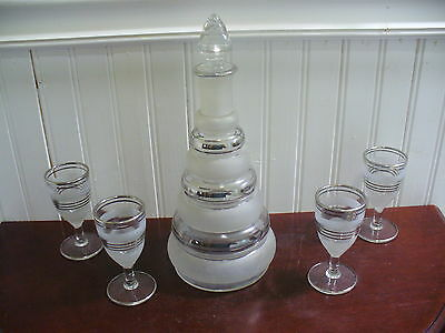 Vintage Art Deco Silver Frosted Striped Glass Decanter & 4 Matching Stem Glasses