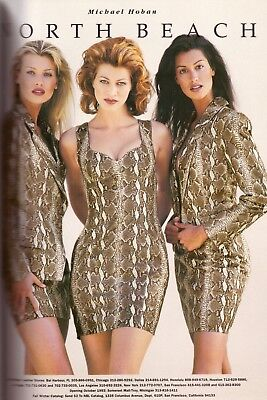 1993 North Beach Leather Yasmeen Ghauri Daniela Pestova Vintage Print Ad  90s