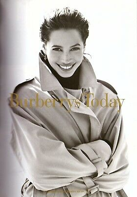 1993 Christy Turlington Burberry Burberrys Print Ad Advertisement Vintage 90s