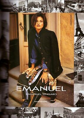 1993 Emanuel Ungaro Henri Bendel Fashion Print Ad Vintage Advertisement VTG 90s