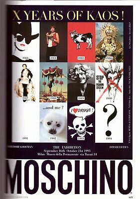 1993 Moschino the Exhibition Fashion Print Ad Vintage Advertisement VTG 90s